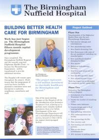 Newsletter designed and written for Birmingham Nuffield Hospital